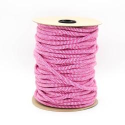 Baumwollkordel Hoodieband Zick Zack 10mm pink weiß
