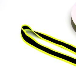 Band gestreift - Galonband -  25mm schwarz neon gelb