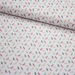Stoff Baumwolle mit kleinen Federn altrosa mint auf weiß