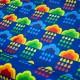 Regenjackenstoff bedruckt blau mit Regenbogenwolken