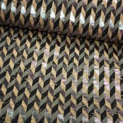 Kork Chevron schwarz silber Metallic