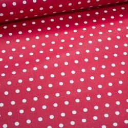 Stoff Baumwolle beschichtet Leona Punkte rot weiß