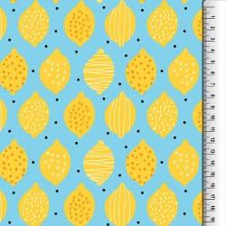 Stoff Canvas beschichtet - Outdoorstoff - Zitronen auf türkis