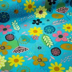 Stoff Canvas beschichtet - Outdoorstoff - Blumen auf türkis