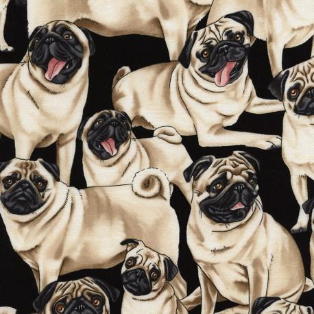 Baumwollstoff Timeless Treasure Pugs / Mops by George McCartney