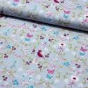 Stoff Baumwolle Vögeln Blumen Schmetterlingen auf hellblau