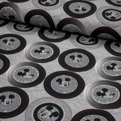 Jersey Stoff Mickey Mouse Jersey retro grau meliert