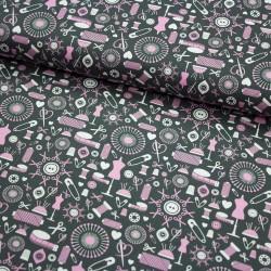 Stoff Baumwolle Sew Love - Nähkram allover grau rosa