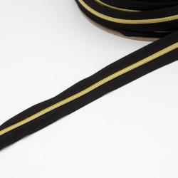 5,9mm endlos Spiralreißverschluss Metalloptik gold schwarz