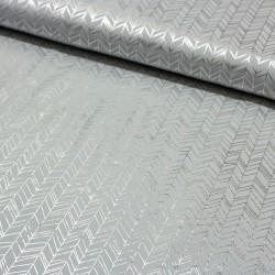 Jersey Stoff Chevron abstrakt mit silber Print hellgrau