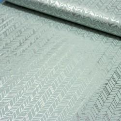 Jersey Stoff Chevron abstrakt mit silber Print mint