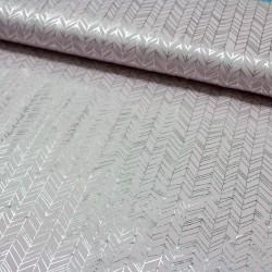 Jersey Stoff Chevron abstrakt mit silber Print altrosa