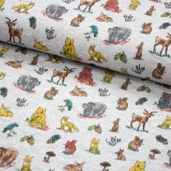 Baumwoll-Jersey Waldtiere Forrest Animals grau