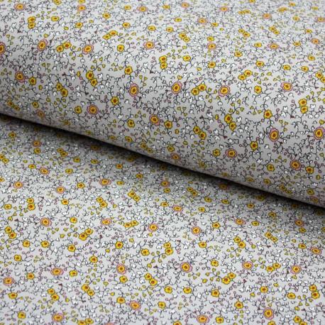 Stoff Soft Sweat  POETIC FLOWERS - Blumen - grau