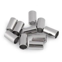 Kordelende  15mm lang - Lochdurchmesser 5,5mm/8mm - silber