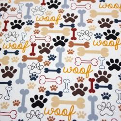 Baumwollstoff Timeless Treasure Hundestoff mit Knochen und Pfoten