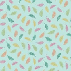 beschichtete Baumwolle Colorful Leaves aqua