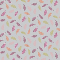 beschichtete Baumwolle Colorful Leaves grau